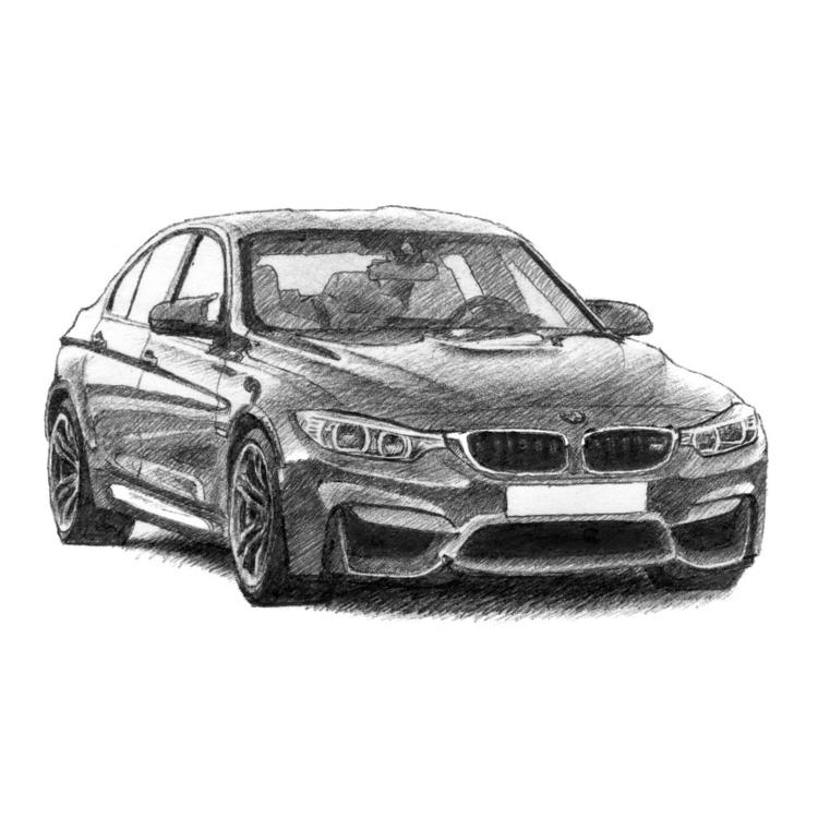 BMW M3 (F80 - bmw, Bmwm3, drawing - drawsyourcar | ello