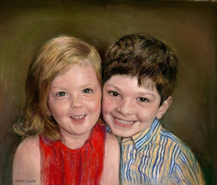Brother Sister Soft Pastels - drawing - doritart | ello