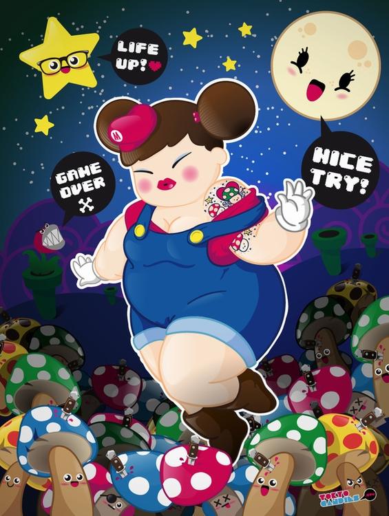 chubby, girl, pinup, mario, supermario - tokyocandies-1186 | ello