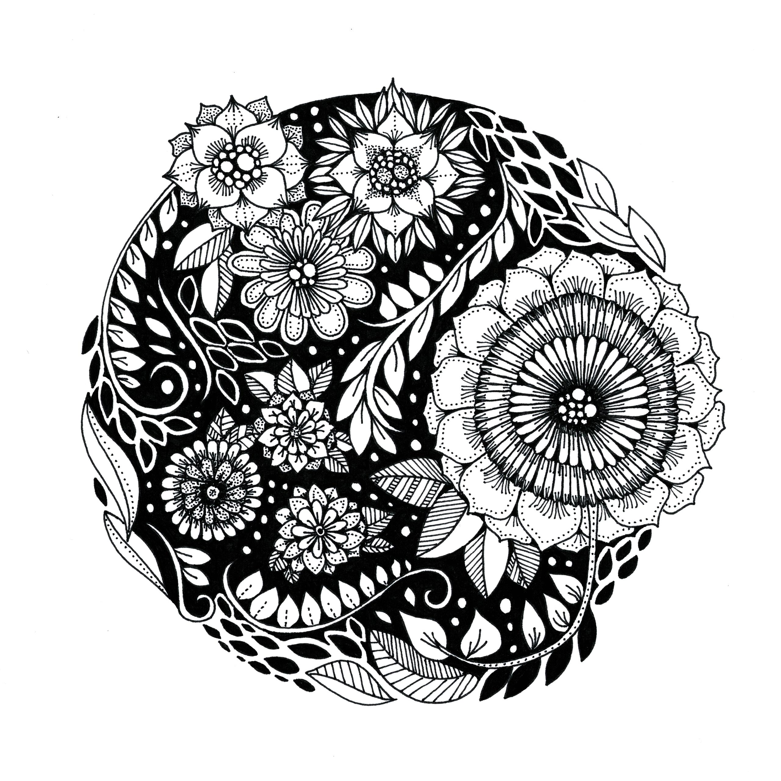 Black Floral - illustration, drawing - ellenparzer | ello