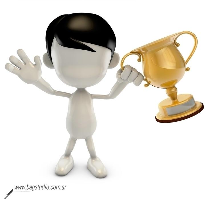 Blank guy holding trophy - characterdesign - bagstudio | ello