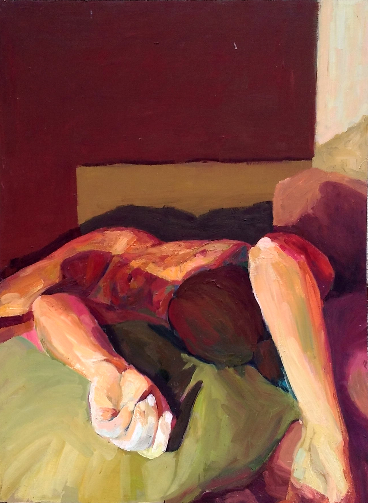 Red room, oil lino, 90 120 cm,  - suzanadzelatovic   ello