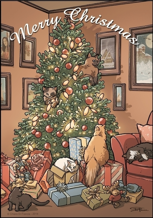 Merry Christmas - cats, cat, animal - chiaradifrancia | ello