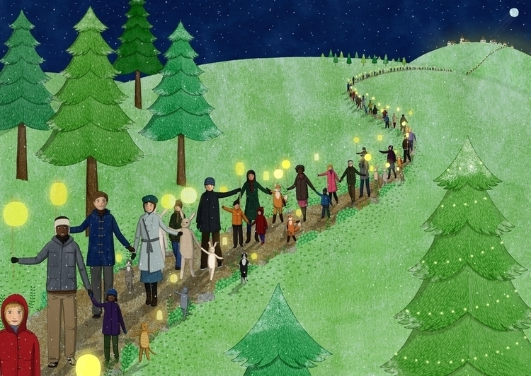 Light Procession - winter, procession - lucyfarfort | ello