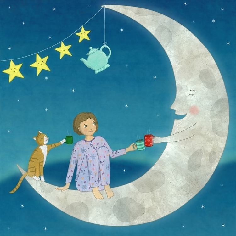 Tea Moon - moonlight, moon, tea - lucyfarfort | ello