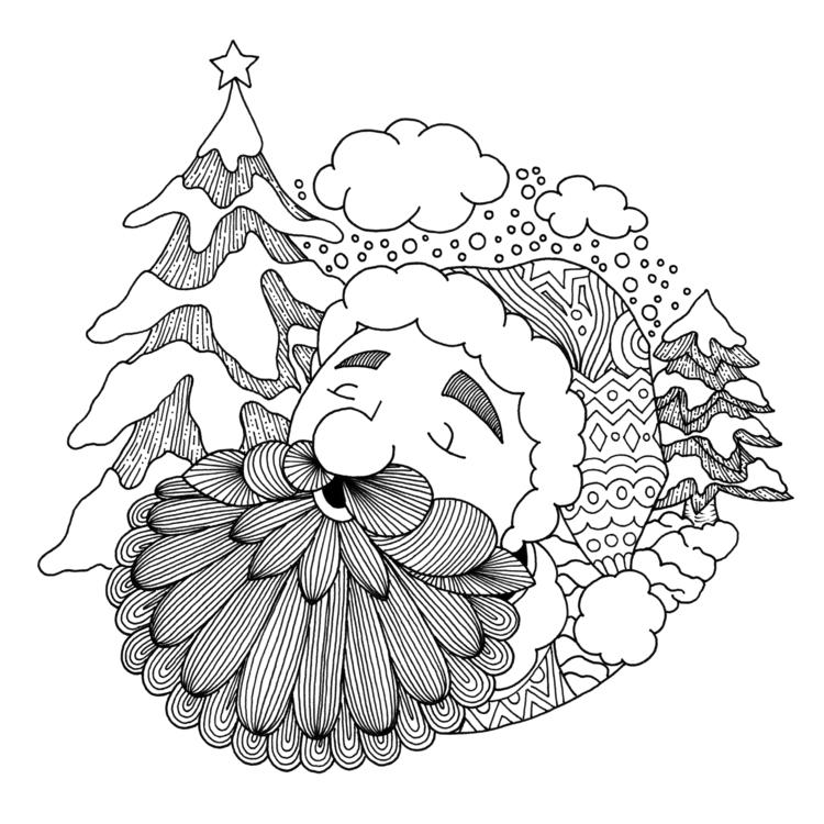 Santa - illustration, drawing, blackandwhite - ellenparzer | ello