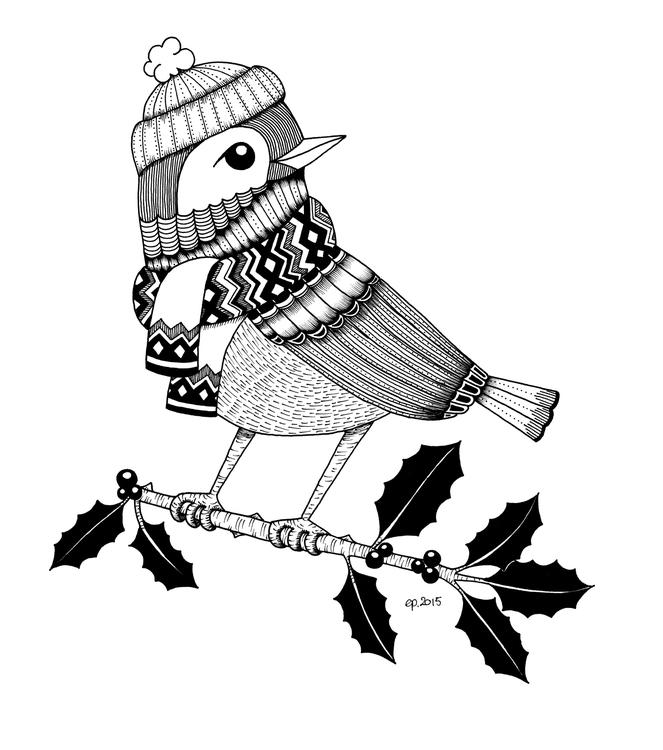 Winter Bird - illustration, drawing - ellenparzer   ello