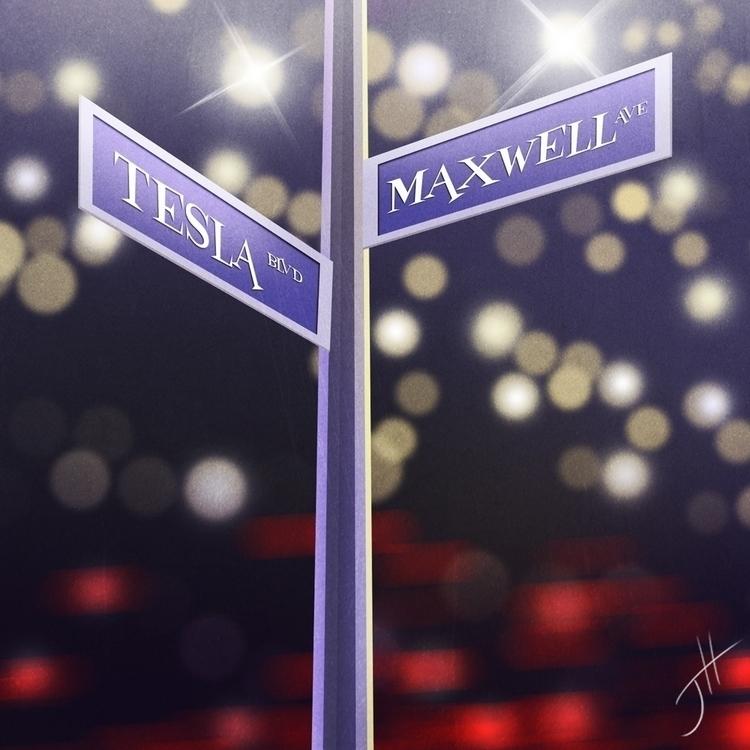 Tesla Maxwell Street Sign - illustration - fxscreamer | ello