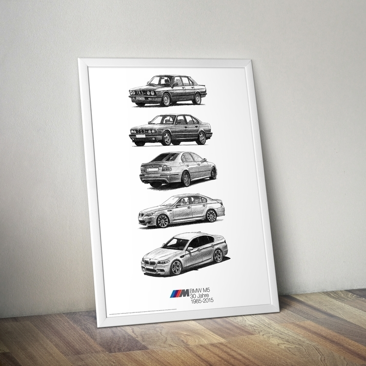 BMW M5 poster - bmw, m5, bmwm5, drawing - drawsyourcar | ello