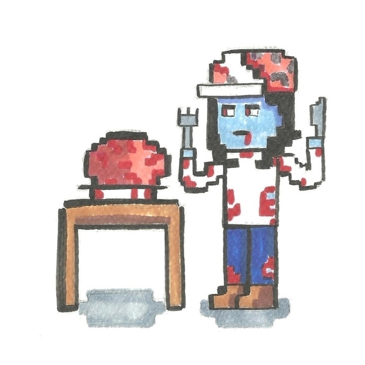 11. 8 bit zombie - illustration - hotshots2000 | ello