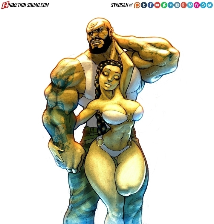 Commissioned work  - muscle, sexy - sykosan | ello