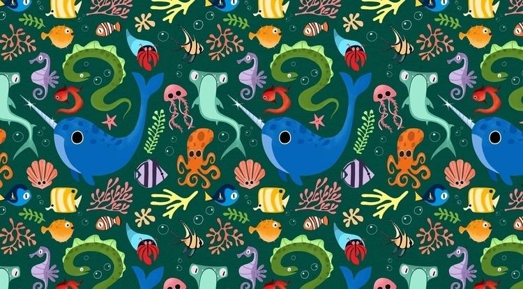 Underwater pattern - seacreatures - ashleyodell | ello