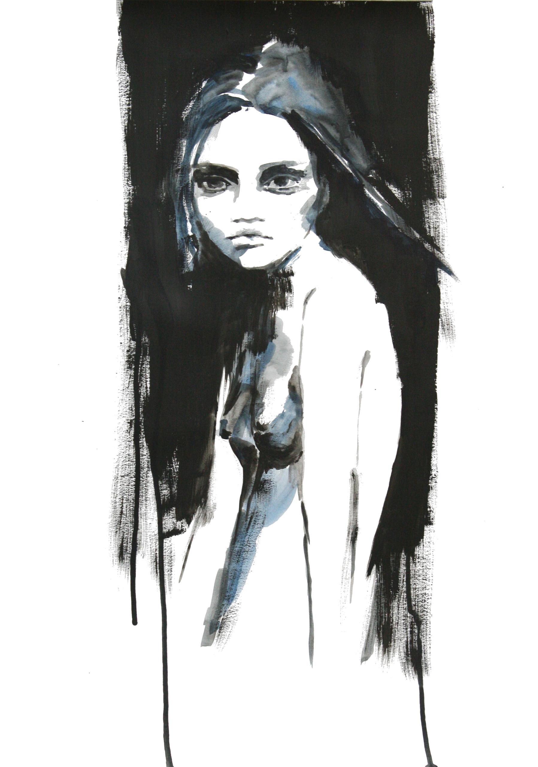 Childish - girl, blackandwhite, painting - godajuskevi | ello