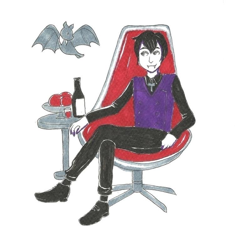 22 Vampire - illustration, drawlloween2016 - hotshots2000 | ello