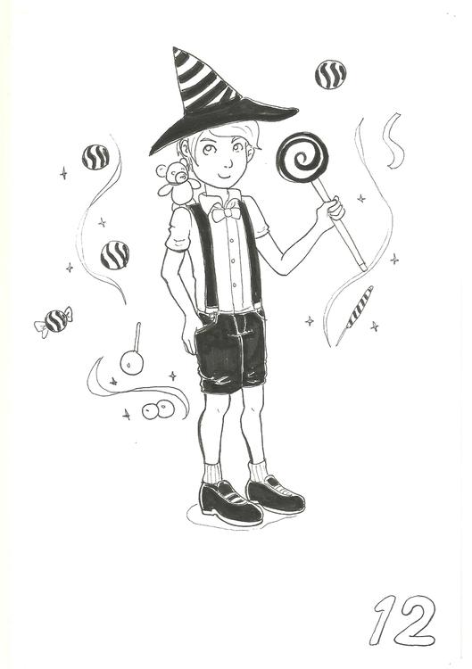 12. Candy Witch - illustration, inktober2016 - hotshots2000 | ello