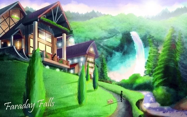 Faraday Falls Resort - illustration - fxscreamer | ello