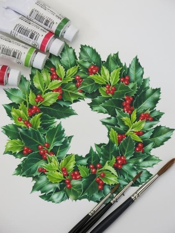 wreath painted watercolor tiny  - karenkluglein   ello