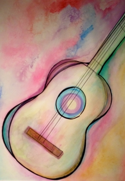 Watercolor Guitar - watercolor, guitar - taylorfiltsch | ello