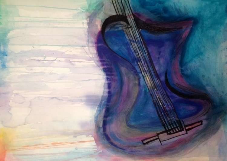 Watercolor Guitar - 2, painting - taylorfiltsch | ello
