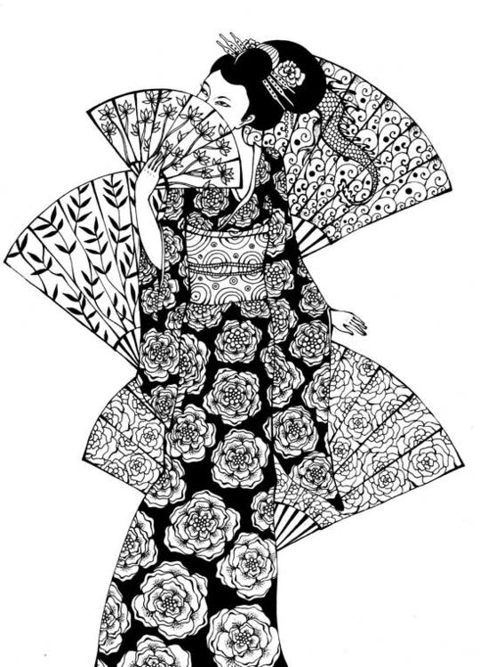 Fans - fans, japan, kimono, woman - depesha2   ello