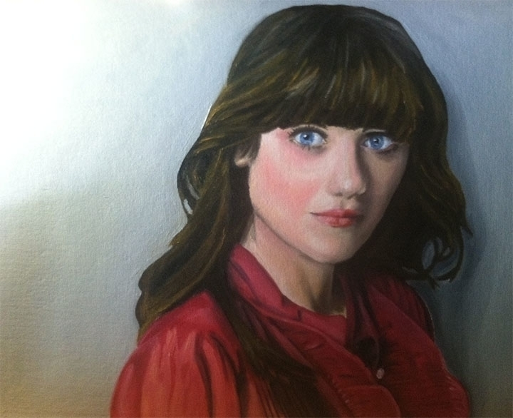Zooey Deschanel, 16x20 oil canv - smhosier | ello