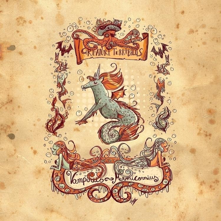 Creature - Vampire,unicorn,horse,seahorse,mermaid,pirate,octopus,creature,monster,myth - katiagrifols | ello