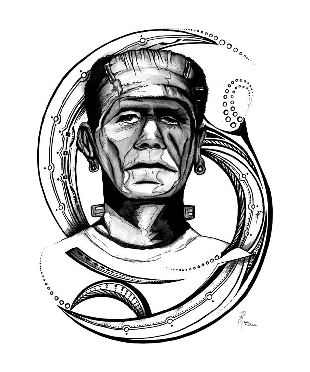 Frankenstein - illustration, painting - dbalentine   ello