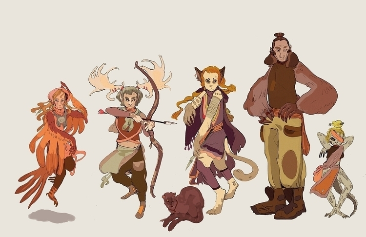 Team lineup - characterdesign, animals - katherinehenri | ello