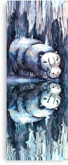 Hippo Reflection. felt-tip pens - geckojoy | ello