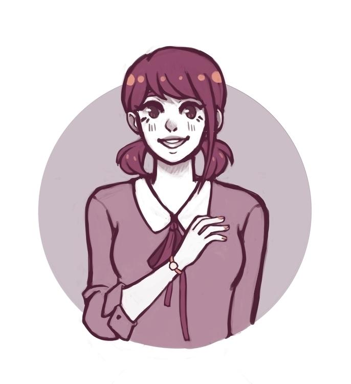 Monochrome - illustration, girl - mmmmocha | ello