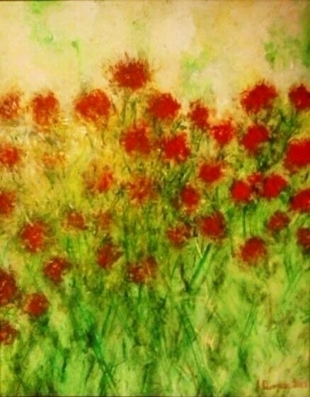 Red Blossoms - painting, watercolor - andreapiccone | ello