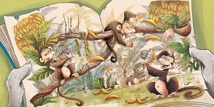 illustration, monkey, children'sillustration - marinaveselinovic | ello