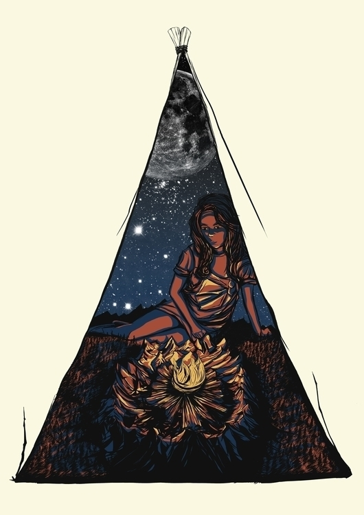 tent - illustration, drawing, campfire - poormanshield | ello