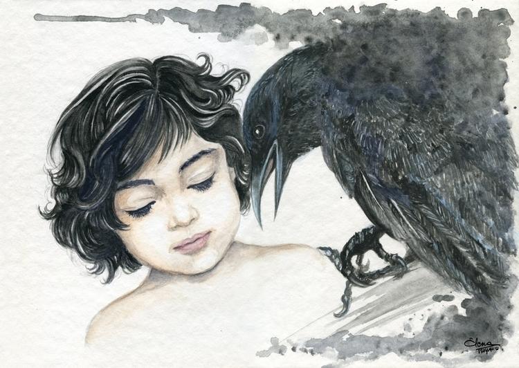 girl crow - illustration, painting - elenatsuya | ello