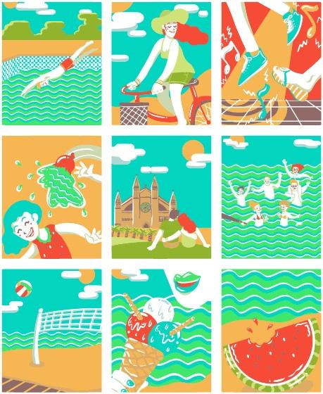 Mallorca Summer - summer, illustration - margom | ello