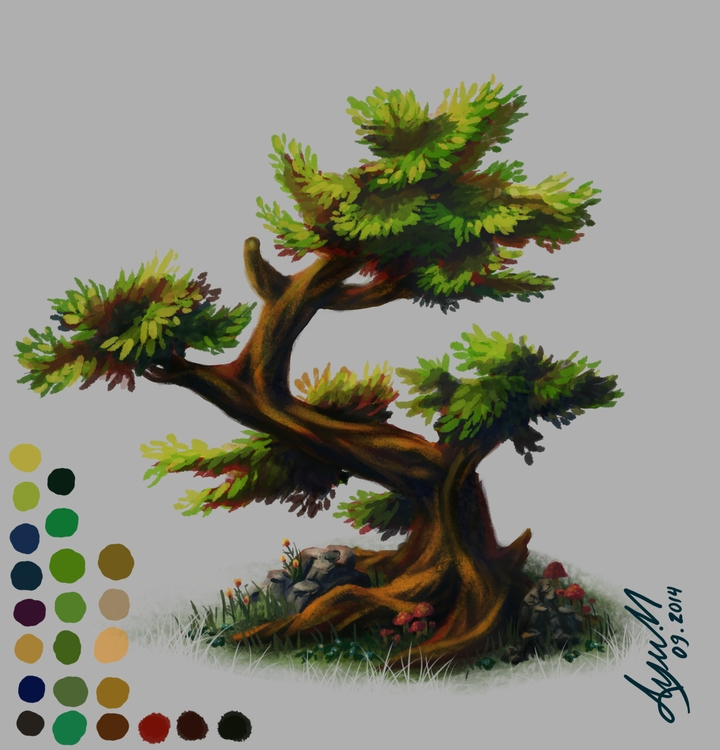 trees, tree, illustration, painting - ayu-3119 | ello