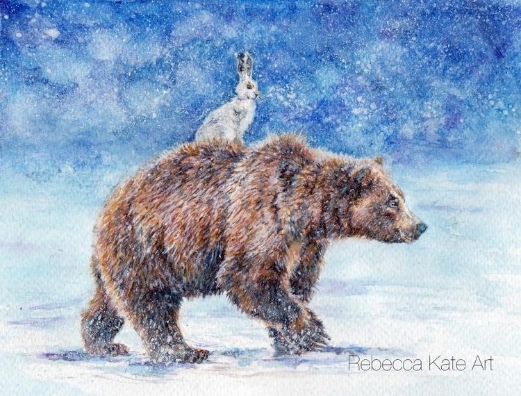 Bear Hare - bear, hare, thebearandthehare - rebeccakateart | ello