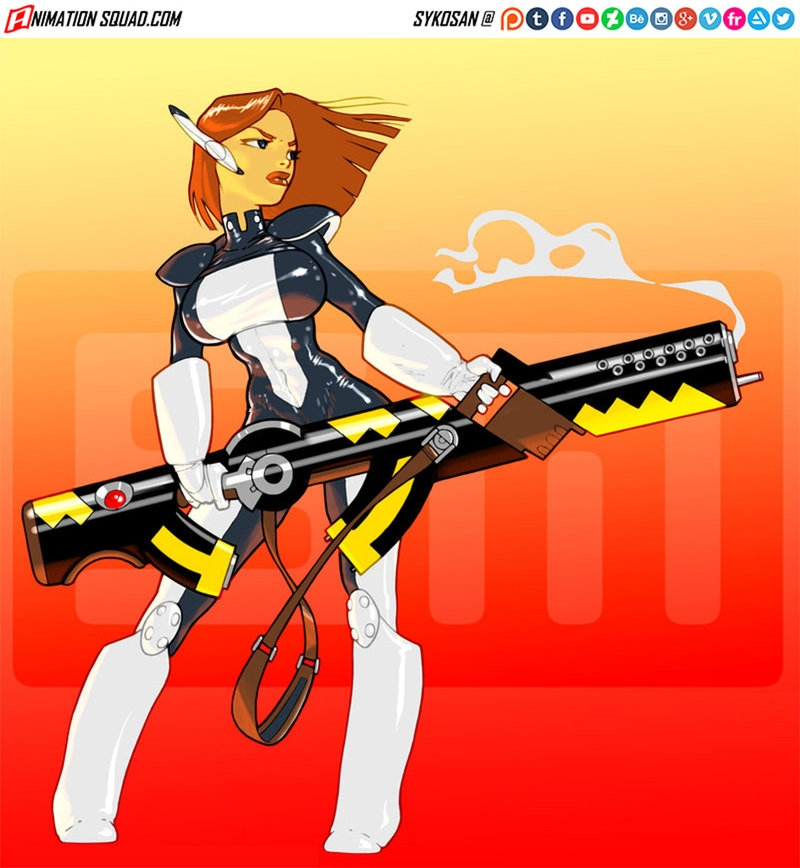 Commission - illustration, gun, girl - sykosan | ello