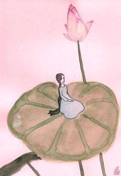 lotus sprite - lotusflower, watercolor - serenedaoud | ello