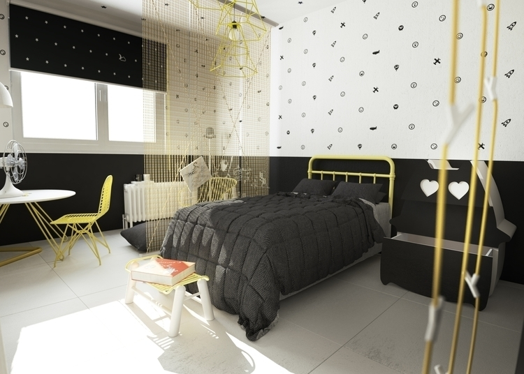 Kids room - design, cat, yellow - fungrafica | ello