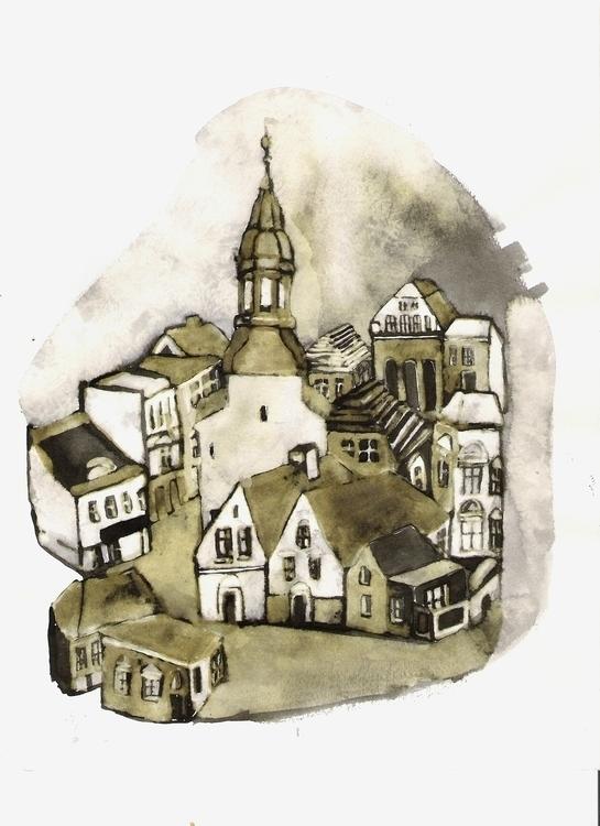 watercolour painting - city - kejto | ello