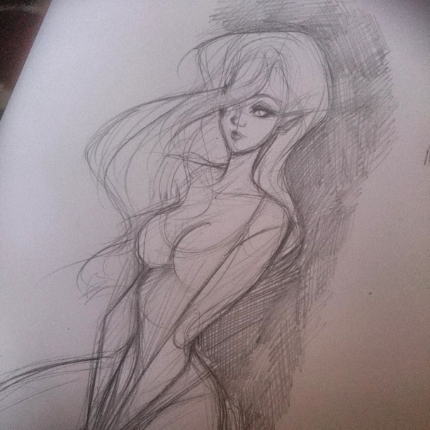 illustration, sketch, pinup, elf - bunnybrush | ello