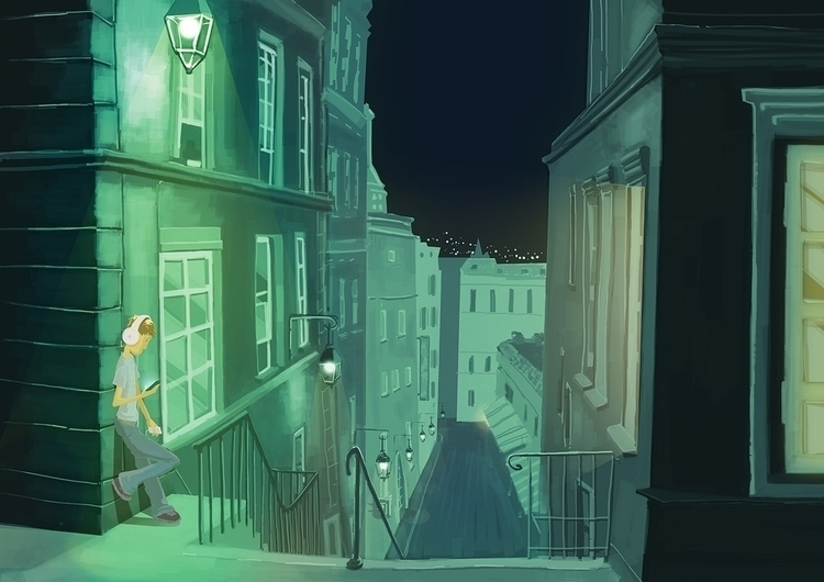 Break - city, night, illustration - robmar17 | ello