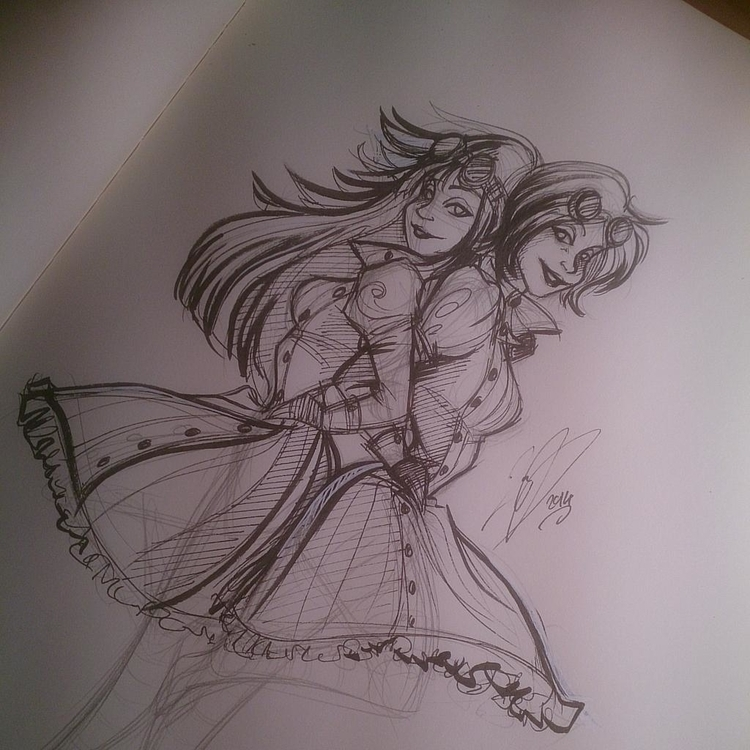 illustration, sketch, ink, pinup - bunnybrush | ello