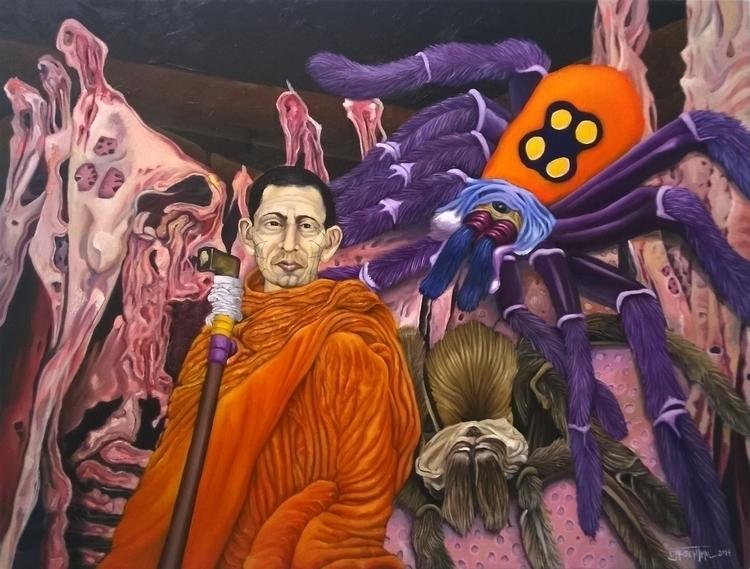 Monk Spiders - painting, illustration - cjrosenthal   ello