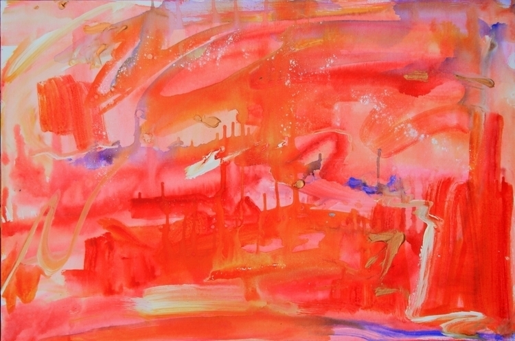 Pink Acrylic Canvas - acrylic, sky - alyssakubitz | ello