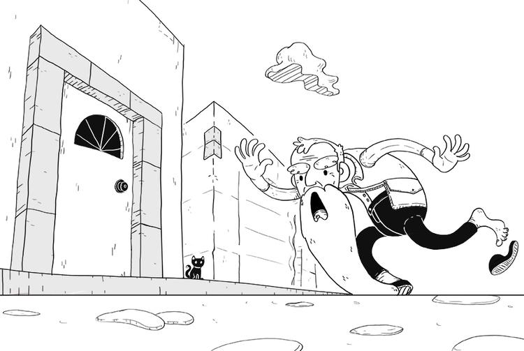 mi chancla - man, illustration, fall - vianeo | ello