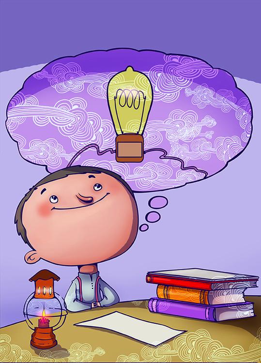 Pequeño Tomas Edison - illustration - mikelle123 | ello