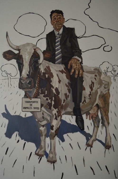Figura con vaca-4, oil linen 19 - diegocereromolina | ello