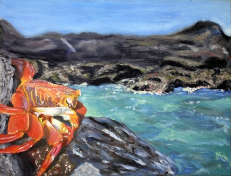 Oil painting crab perched rock  - keprzygoda | ello
